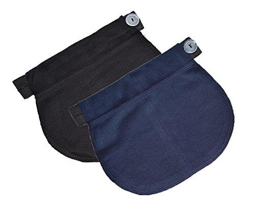 Lot de 2 ceintures d'ajustement 1029 - pantalon et jupe - grossesse Noir + bleu foncé