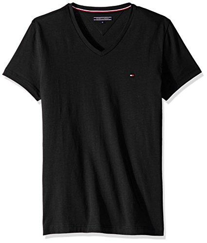 Tommy Hilfiger Herren T-Shirt Core Stretch Slim Vneck Tee, Schwarz (Flag Black 083), Large (Eines Shirt Tages)
