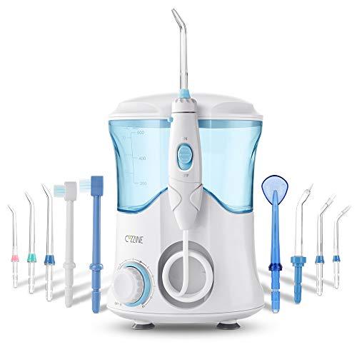 Idropulsore Dentale, Cozzine Irrigatore Orale Professionale con 9 Beccucci, 600ml, 10 Impostazione di Pressione dell'acqua, 30-120 PSI con pulsante di pausa, Irrigatore Dentale Approvato dalla FDA, CE