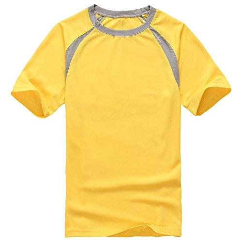 Molly Uomini Manica Corta Essiccamento Rapido Traspirante T Shirt Giallo L