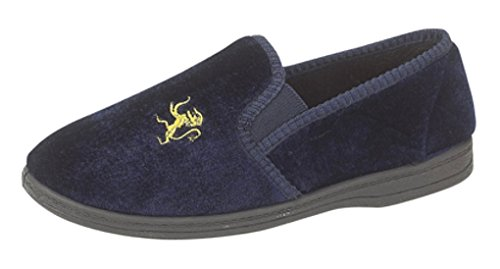 Boys Lion Motif Twin Gusset Slippers with rubber Sole Navy Blue size 4 (boys) UK