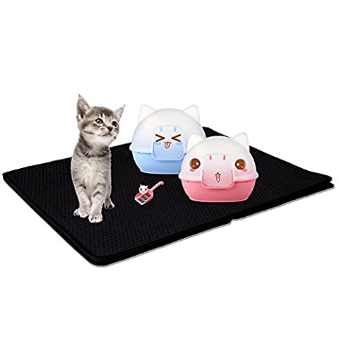 Petacc Waterproof Cat Litter Mat Double-Layer Honeycomb Pet Mat Washable Kitty Litter Trapper, Light EVA Foam Rubber,