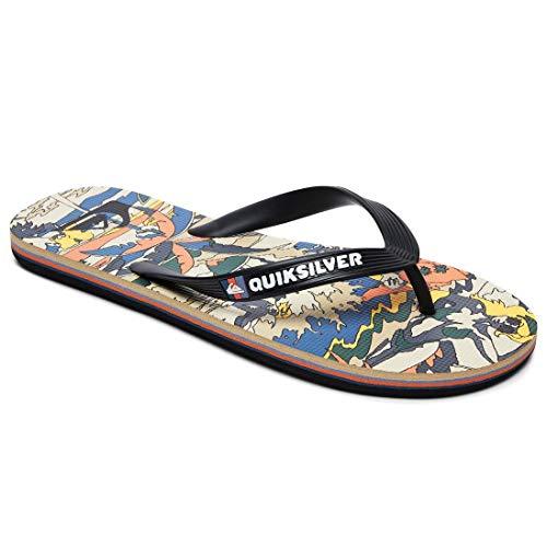 Quiksilver Molokai Feelin Fine Flip Flops - Black/Black/Yellow-UK 8