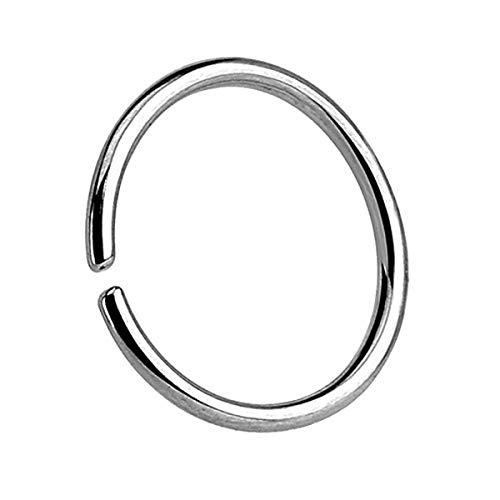 Piercingfaktor Universal Continuous Piercing biegbarer Fake Hoop Ring Septum Tragus Helix Ohr Nase Lippe Nasenring Nasenpiercing Silber 0.8mm x 8mm (Hoop Lippe Ringe)
