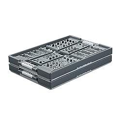 keeeper 2x Stabile Profi-Klappboxen mit Soft-Touch Griffen, 54 x 37 x 28 cm, 45 l, Ben, Hellgrau