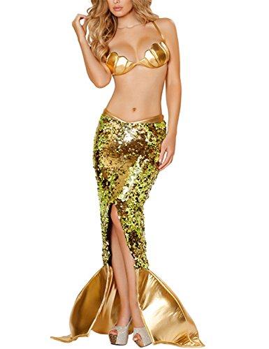 Kleine Sexy Meerjungfrau Kostüm - GWELL Damen Meerjungfrau Kostüm Halloween Mermaid Bühnenkostüme Pailletten Maxirock Cosplay Karneval Abendkleid, M, Gold