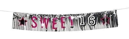 Neu: 1 Fransen-Banner * Sweet 16 * für Eine Party Zum 16. Geburtstag | Deko Dekoration Sechzehn Teenie Teenager Motto Mädchen Girl Feier Fete Girlande