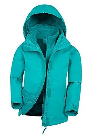 Mountain Warehouse Fell 3-in-1-Kinder wasserdichte Regenjacke mit Kapuze und abnehmbarer Fleecejacke Jungen Mädchen Blaugrün