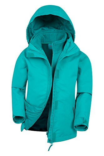 Mountain Warehouse Fell 3-in-1-Jacke für Kinder - Freizeitjacke mit Reißverschluss, wasserbeständiger Regenmantel, Innenteil aus Fleece, verstaubare Kapuze - Für Reisen Blaugrün 128 (7-8 Jahre) (Mountain Jacke)