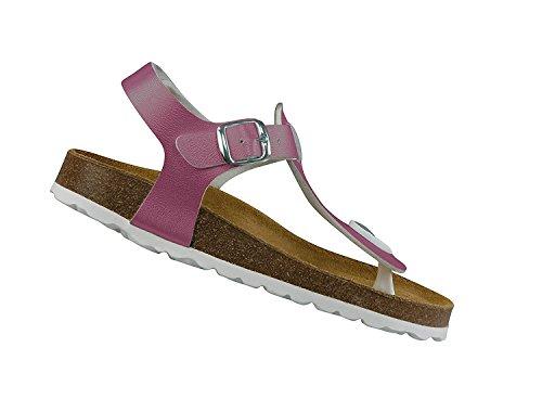 Lico - Bioline Look Pantoletten silber Freizeitschuh Schnallenschuh Sandalen Damen Mädchen Pink (Pink)