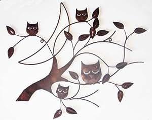 Wall Art - Metal Wall Art - Bronze 4 Wise Owls Tree Branch