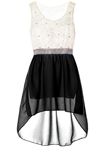 BEZLIT Mädchen Kinder Sommer-Kleid Spitze Glitzer Kurzarm Kunst-Perlen 22286, Farbe:Schwarz, Größe:140 (Mädchen 10 Kleider)