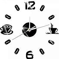 ساعة يد من زيليت رقمية فنجان قهوة DIY ساعة أكريليك ذاتية اللصق كوارتز صامتة 3D ساعة حائط المطبخ ديكور المنزل ساعة الحائط