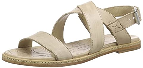 Shabbies Amsterdam Premium Italian made flat sandalet leather sole Pendula, Sandales Bout ouvert femme - Marron - Marron (taupe), 39
