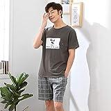 Nuovo Pigiama da Uomo Vestito da Uomo Semplice Pigiama da Uomo Manica Corta Pigiama Pantaloni Corti Giacca Casual 2 XL