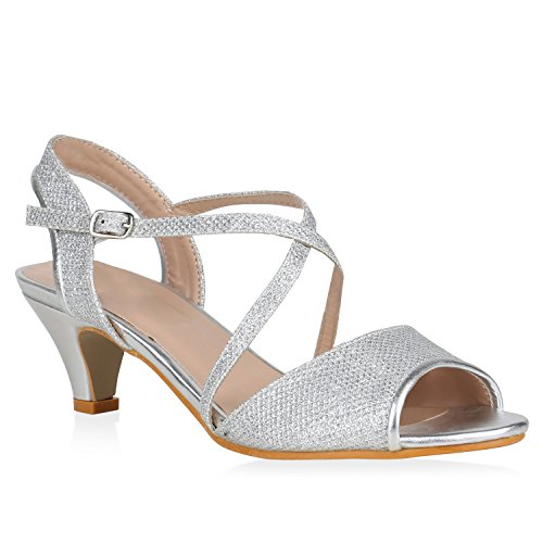 Stiefelparadies Damen Schuhe Riemchensandaletten Glitzer Metallic Sandaletten Kitten Heel 148160 Silber Metallic Glitzer 38 Flandell