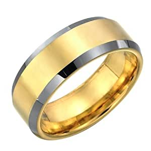 R&B Jewelry Stunning Mens Tungsten Ring Two Tone Wedding Band 8mm Gold -T