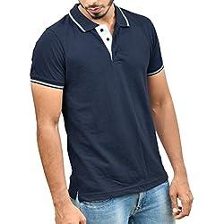 Ruffty Men's Cotton Half Sleeves T-Shirt (Dark Denim, Medium)