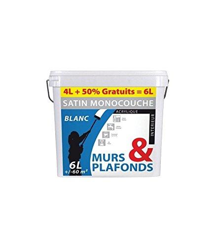 Peinture monocouche murs et plafonds acrylique bg pot 4 l + 2 l gratuit blanc satin
