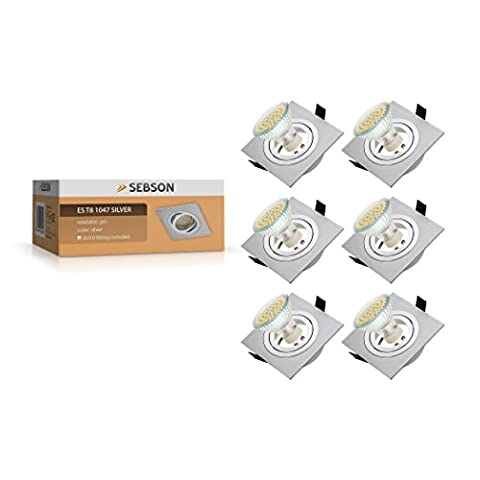 SEBSON® 6x Downlight type 8 square, incl. GU10 LED Lamp 3.5W, 300lm (30W Replacement for light