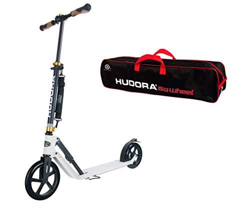 HUDORA Big Wheel Style Scooter Roller 230 inkl. Scooter-Tasche - City Roller Tretroller schwarz/weiß