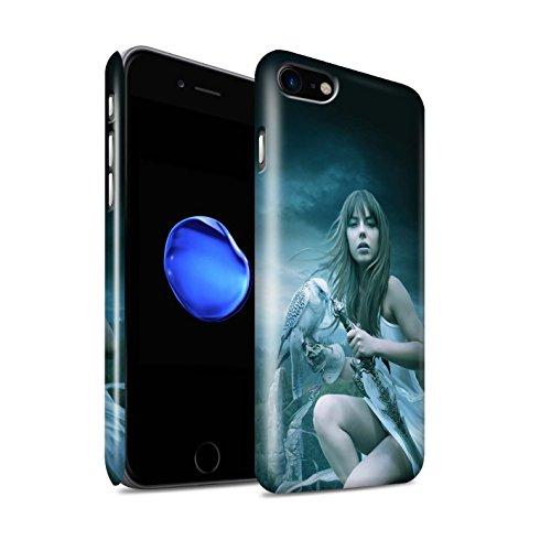 Officiel Elena Dudina Coque / Clipser Brillant Etui pour Apple iPhone 8 / Coucher Soleil Design / Les Oiseaux Collection Faucon Gardien/Épée