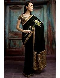 Jhtex Fashion Women's Black Fancy Georgette Saree With Blouse Saree (Dhara_12)