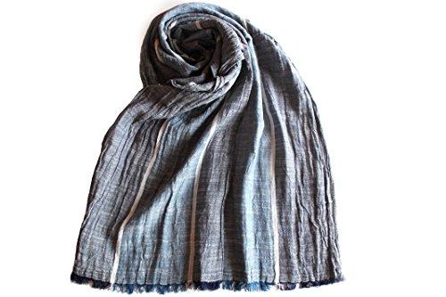 Sciarpa foulard da uomo in cotone effetto stropicciato, fantasia a righe in vari colori cod 698 (4 - blu)