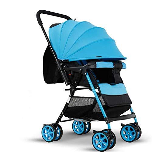 Ultraleichte Kinderwagen-Trolley Zwei-Wege-High-Landscape-Kind Regenschirm Kinderwagen Kinderwagen Klappschock kann sitzen Liegen Kinderwagen Buggys (Color : Blue, Größe : 26.37 * 11.41 * 39.37inchs)