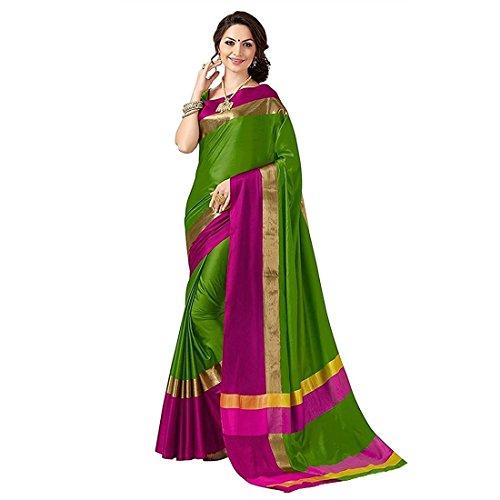 Indira Designer Women's Green Color Cotton Silk Plain Saree With Blouse