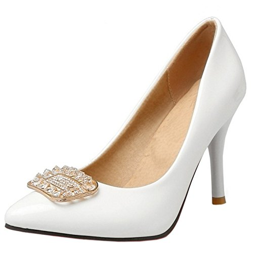 TAOFFEN Damen Fashion Slip On Stiletto Pumps Schuhe Mit Rhinestone White
