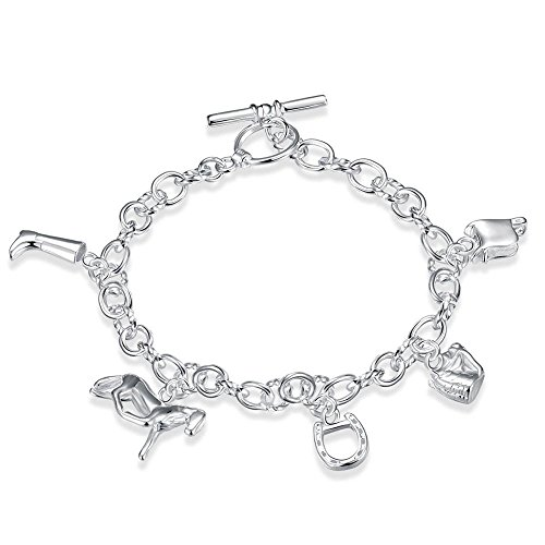 Reise-thema (BODYA Reisen Thema Charm Armband baumelnden String Pferd Tasche Schuhe Anhänger Link Armband Silberton)