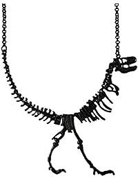 Jane Stone Collier Plastron Statement Fantaisie 3D Squelette de Dinosaure Punk Femme Couleur Noir