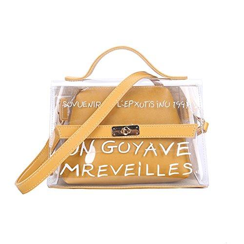 Crewell Frauen Transparent Tasche Klar PVC Jelly Klein Tote Summer Beach Bag Weiblich Crossbody Taschen, Gelb (Klare Tote Taschen)