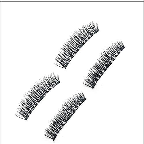 DREI Magnet falsche Wimpern, Keine Spur von Kleber, lang und realistisch, komfortabel und weich, handgefertigt, Faser, einfach und schnell, (4 PCS)