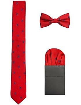 Hombre 6cm Corbata & Pajaritas & Pañuelo de Bolsillo 3 en 1 Set Moda Casual Cool - Calavera Patrón