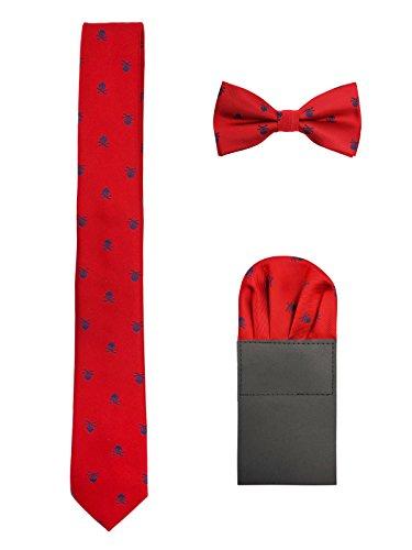 Herren 6cm Krawatte & Gebundene Fliege & Einstecktuch 3 in 1 Set Yuppie Trendmode Casual Cool - Totenkopf Pattern Rot