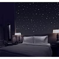 TALINU Glow in the Dark Wall Stickers, set of 277, extra strong luminosity, self adhesive - wall and ceiling dots, starry night constellation, long lasting glowing wall deco for kids, teens bedroom, star light effect stickers