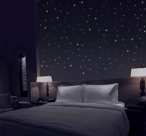 TALINU Glow in the Dark Wall Stickers set of 277 extra strong luminosity self adhesive illuminated fluorescent wall, roof and ceiling dots /2 year satisfaction guarantee/ starry night constellation long lasting glowing wall deco for kids, teens bedroom, 277 pack of glowing star light effect
