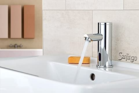 Design Wasserhahn Infrarot IR Automatik Waschbecken Kaltwasser in Chrome