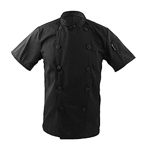 Men Women Mandarin Collar Double Breasted Short Sleeve Chef Coat Uniform Jackets - Black, XL