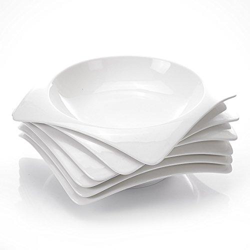 Malacasa, serie rosana, piatto bianco in porcellana bianca 6 pezzi 20,8 x 20,8 x 4 cm