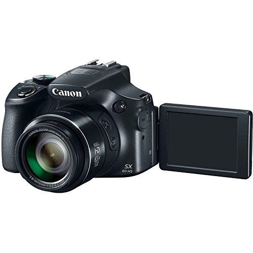 Canon PowerShot SX60-HS 16.1MP Advanced Digital Camera (Black) with 65x Optical Zoom with Free USB cable,Free 8GB card inside and Camera case