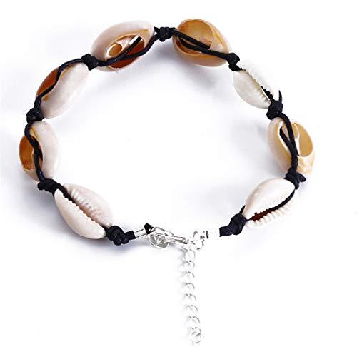 JOMSK Frauen Shell Armband Sommer Strand Ethnischen Stil Vintage Armbänder Handgefertigte Shell Perlen Böhmischen Fußkettchen Fuß ()