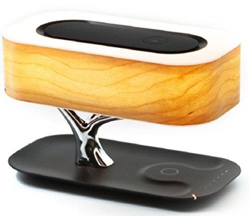 4smarts 462255 Induktive Ladestation Smart-Bonsai-QI mit Dimmbarem LED-Licht und Integriertem Bluetooth Lautsprecher schwarz