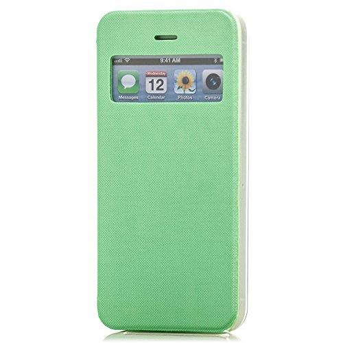 Saxonia Tasche Apple iPhone SE 5S 5 Hülle Case Schutzhülle Flip View Cover mit Fenster Grün Grün