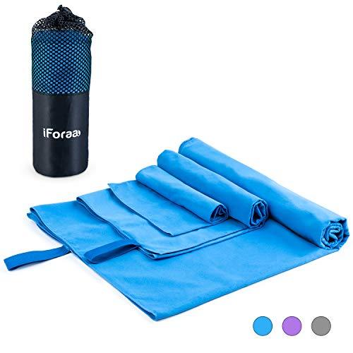 iForaa Mikrofaser Reisehandtuch 3 Stück(152 x 80 cm,100 x 50 cm 40 x 40 cm) Schneller trocknender, saugfähiger Travel Handtuch für Sport, Backpacking, Strand, Dusche, Yoga (Blau )