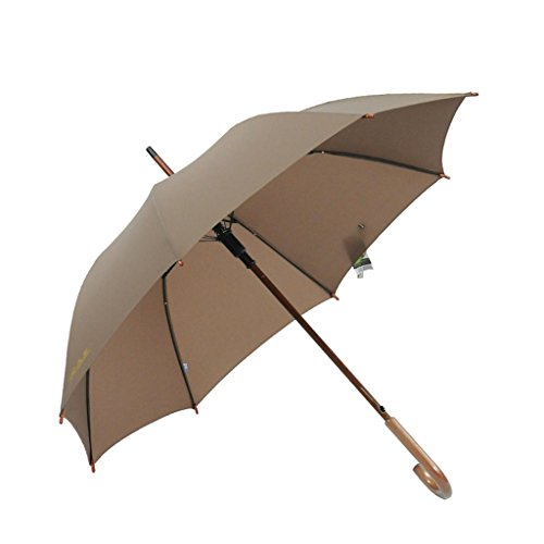 Massivholz-Handgriff-Regenschirm-Normallack-langer Handgriff-sonniger Regenschirm-männlicher und weiblicher Geschäfts-Regenschirm automatisch ( Farbe : Braun )