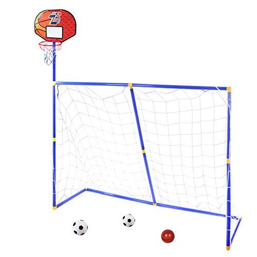 MRKE 3 in 1 Basketballkorb und Fußballtor Spielzeug Set für Kinder Outdoor und Indoor - 158*158*45.5CM - mit Basketball und Fußball