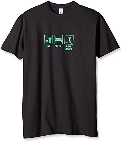 Coole-Fun-T-Shirts Jungen T-Shirt EAT, Sleep, Longboard schwarz-Green, XXX-Large -